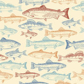 Seamless pattern with hand drawn fish — Stock Vector
