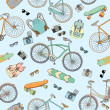 Seamless pattern with bicycles, boards and accsessories — Stock Vector