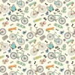 Seamless pattern with bicycles, boards and accsessories 2 — Stock Vector
