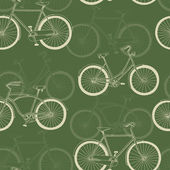 Nahtlose muster mit vitage fahrräder auf grünem hintergrund — Stockvektor