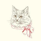 Kedi kırmızı yay ile kalem ve mürekkep çizimi — Stok Vektör