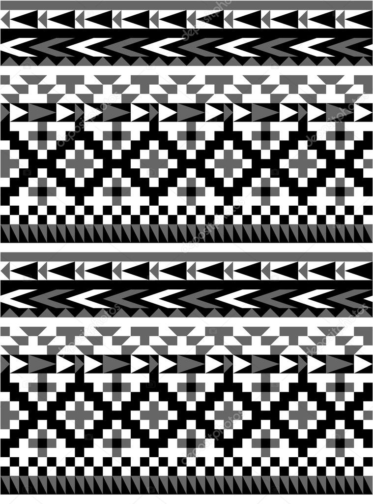 Seamless aztec pattern in black and white 1 — Stock Vector ...