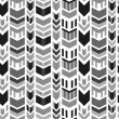 Stock Vector: Seamless geometric trendy pattern in black and white