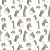 Modèle sans couture avec les pingouins mignons — Vecteur