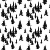 Seamless pattern with pine trees in black and white — Stock Vector
