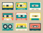 Set of various audio tapes in flat style — Stock Vector