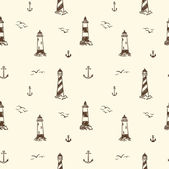 Seamless pattern with lighthouses and anchors — Stock Vector