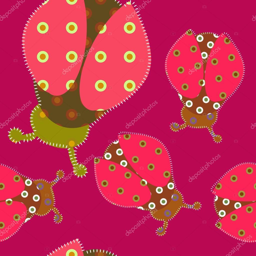 de mariquita con la estilización de patchwork - Ilustración de stock