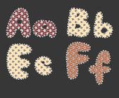 Fluffy alphabet — Stock Vector