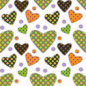 Patchwork hearts on white background — Stock Vector
