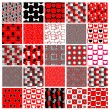 Set of red and black celebration patterns — Stock Vector