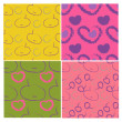 Set of four patterns with decorative fruits and hearts — Vettoriale Stock  #13730953