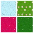 Stock vektor: Set of four decorative seamless ornaments with flowers