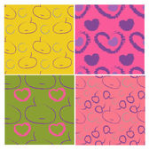 Set of four patterns with decorative fruits and hearts — Stock Vector
