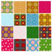 Zestaw jasny kolorowy kwiatowy wzór — Wektor stockowy