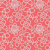 Rött och vitt blommönster — Stockvektor