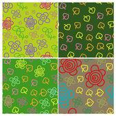 Set of four cartoon patterns — ストックベクタ