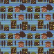 Night city seamless pattern — Imagen vectorial