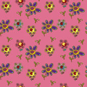 Seamless pattern with funny flowers — Stock Vector