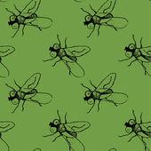 Flugor på grön bakgrund — Stockvektor