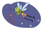 Decorative cartoon mosquito looking for dinner — Vecteur