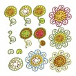 Set of decorative flowers isolated on white — Stock Vector