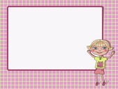 Boy and girl with an empty text frame — Stockvector