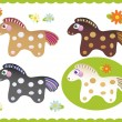 Set of cute little horses — Stock Vector #32916305