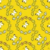 Seamless summer pattern with butterflies — Stock Vector
