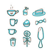 Coffee and sweets doodles set — Stock Vector
