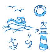 Sea objects set — Stock Vector