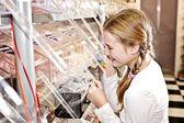 Sweet shop girl, raking sweets — Stock Photo