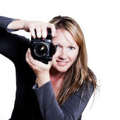Photographer woman — Stock Photo
