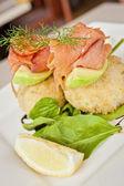 Smoked salmon on potato croquette — Stock Photo