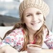 Stock Photo: Tween with hot chocolate