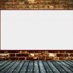 Blank billboard on the old walls — Stock Photo