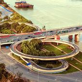 Overlooking the bridge. Took aerial — Stock Photo