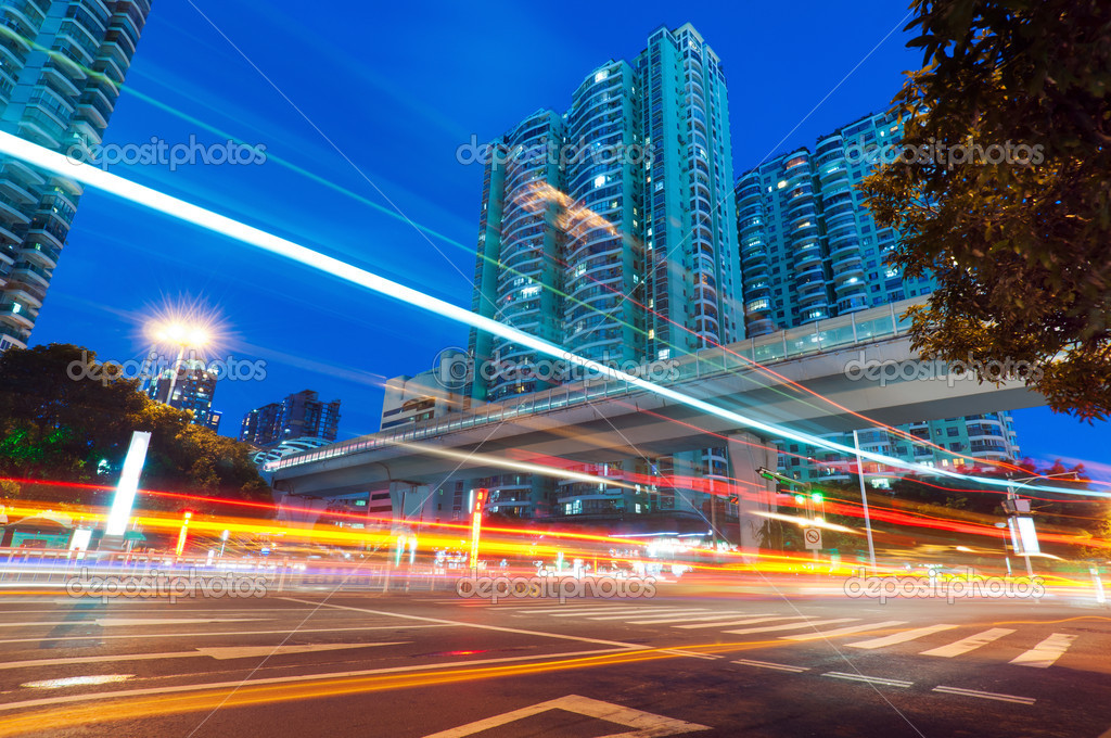 Viaduct below the light trails — Stock Photo #15324377