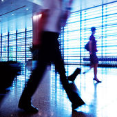Passengers in Shanghai Pudong Airport — Stock Photo