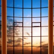Stock Photo: Modern building indoor: office window