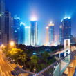 Cities of skyscrapers at night — Stock Photo