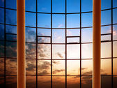 Modern building indoor: office window — Stock Photo