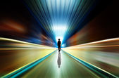 Silhouette in a subway tunnel. Light at End of Tunnel — Stock Photo