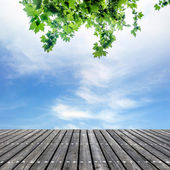 Sky and wooden platform — Stock Photo