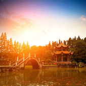 Chinese classical gardens of the twilight — Stockfoto