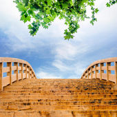 The sky and the wooden bridge — Stock Photo