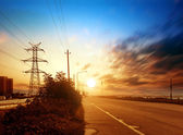 Highways and high-voltage tower — Stockfoto