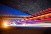 Viaduct and light track — Stock Photo