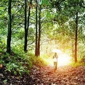 Kvinnan promenader i skogen — Stockfoto