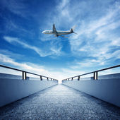 Promenade and aircraft — Stock Photo